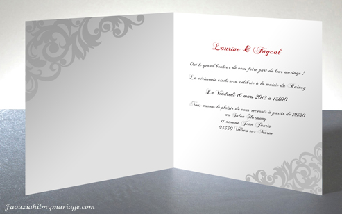carte d'invitation de mariage oriental